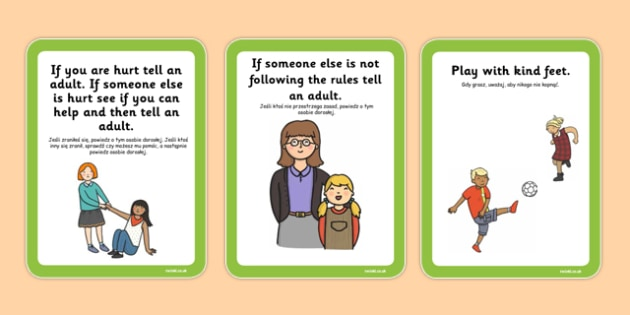 Playground Rules Cards Polish Translation - polish, playground, rules, cards, rules cards