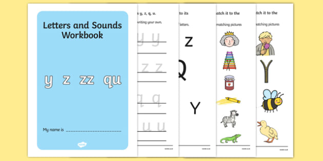 Letters And Sounds Workbook Y Z ZZ QU - letters, sounds