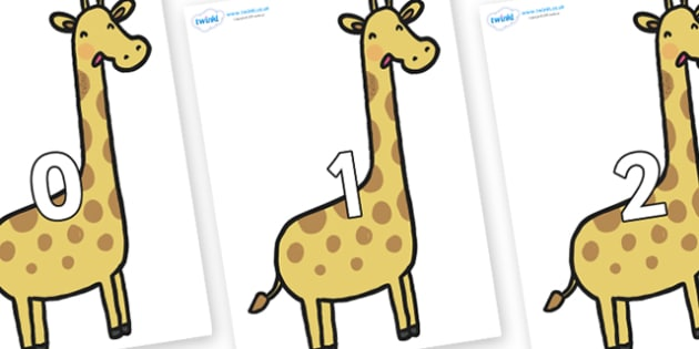 Numbers 0-31 on Giraffes - 0-31, foundation stage numeracy, Number recognition, Number flashcards, counting, number frieze, Display numbers, number posters