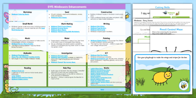 EYFS Minibeasts Enhancement Ideas and Resources Pack - planning, minibeast