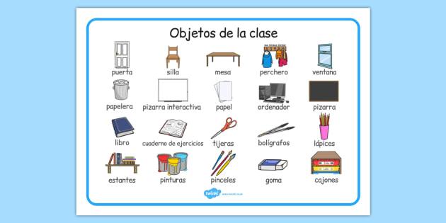 Objetos de la clase Word Mat Spanish - spanish, classroom ...