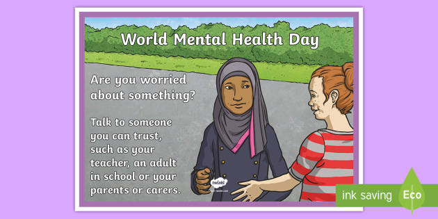 World Mental Health Day Are You Worried A4 Display Poster