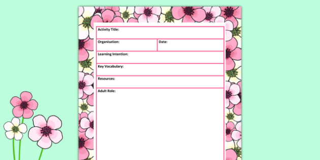 Spring Themed Adult Led Carpet Based Activity Planning Template