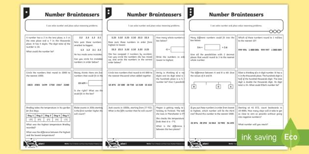 Number Brainteasers Worksheet / Worksheet - Number and Place Value