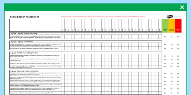 Australian Curriculum Year 2 English Assessment Spreadsheet - australia, curriculum, assessment