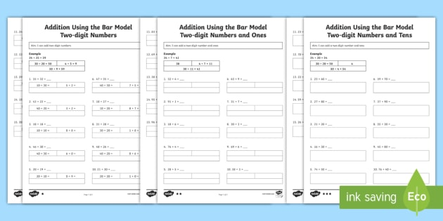 Year 2 Addition of Two-Digit Numbers, Tens and Ones Using the Bar Model - Bar Modelling Addition and Subtraction Activity Sheets Year 3 - Key Stage 2, KS1, Year 2, bar models