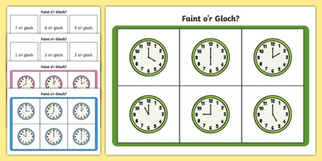 Bingo Amser - O'r Gloch - welsh, o'clock, times, bingo, game