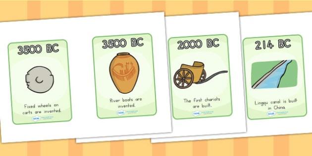 History of Transport Timeline Cards - transport, history, time