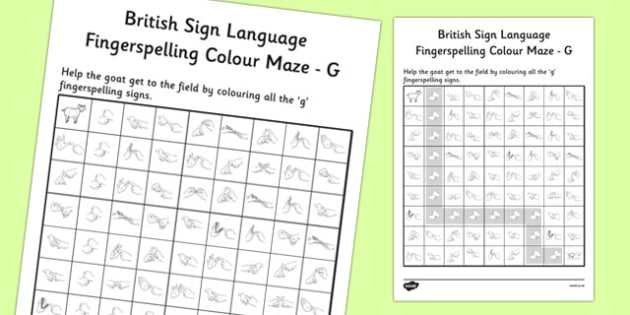 British Sign Language Left Handed Fingerspelling Colour Maze G