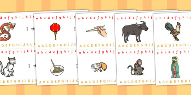 Chinese New Year Alphabet Strips - chinese, new year, alphabet