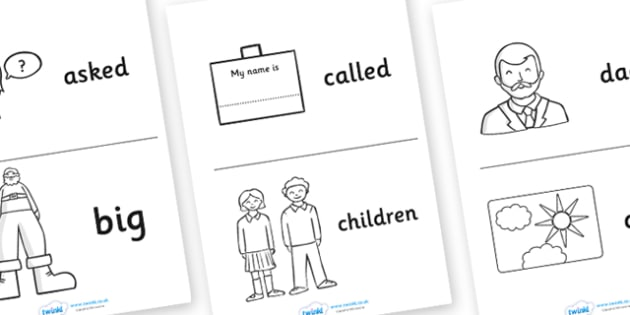 High Frequency Sight Words Booklet Images - sight words, words
