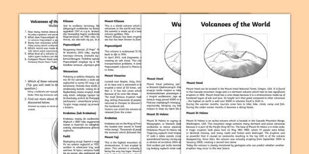 World Volcanoes Comprehension Activity Sheets English/Polish - World Volcanoes Reading Comprehension Activity - volcano, worksheet, comprehesion, vocanoes, compreh