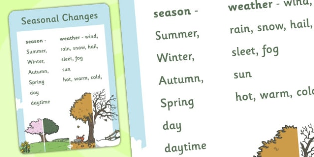 Year 1 Seasonal Changes Scientific Vocabulary Poster - posters