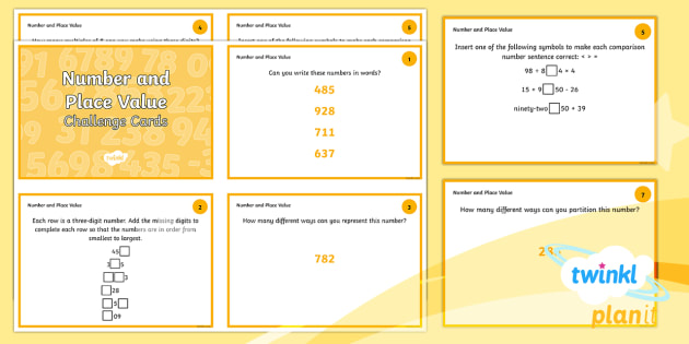 PlanIt Maths Y3 Number and Place Value Challenge Cards