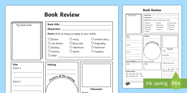 * NEW * In-Depth Book Review Writing Template