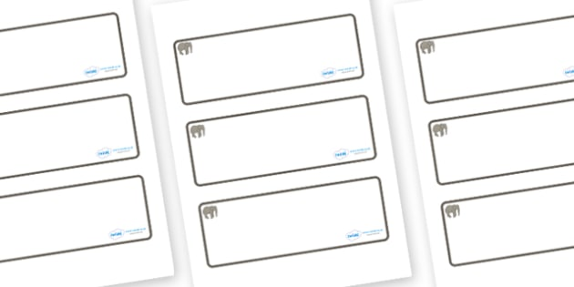 Elephant Themed Editable Drawer-Peg-Name Labels (Blank) - Themed Classroom Label Templates, Resource Labels, Name Labels, Editable Labels, Drawer Labels, Coat Peg Labels, Peg Label, KS1 Labels, Foundation Labels, Foundation Stage Labels, Teaching Lab