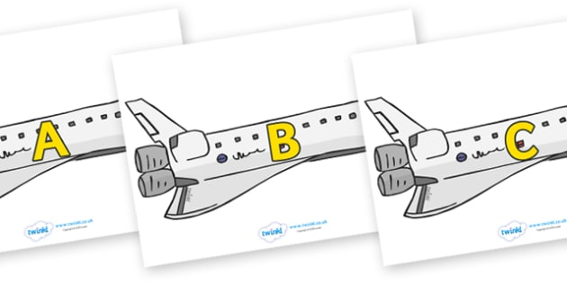 A-Z Alphabet on Space Shuttles - A-Z, A4, display, Alphabet frieze, Display letters, Letter posters, A-Z letters, Alphabet flashcards