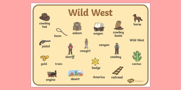 Wild West Word Mat - wild west, cowboys, visual aid, keywords