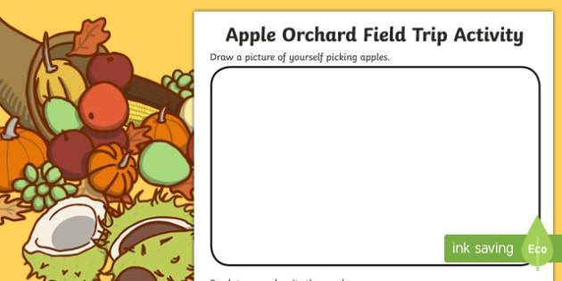 Apple Orchard Field Trip Worksheet / Activity Sheet