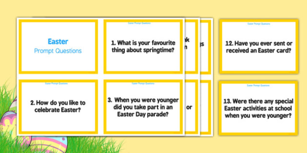 Elderly Care Easter Prompt Questions - adult education, nursing home, activities, memories