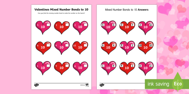 Valentines Day Hearts Mixed Number Bonds to 10 Worksheet