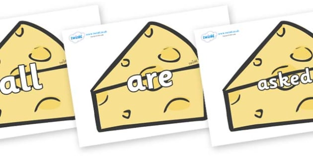 Tricky Words on Cheese - Tricky words, DfES Letters and Sounds, Letters and sounds, display, words