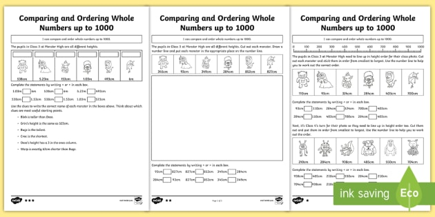 Comparing and ordering whole numbers up to 1000 differentiated comparing and ordering whole numbers up to 1000 differentiated worksheet activity sheets compare ibookread Download