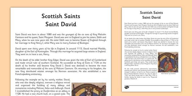Saint David of Scotland Information Sheet - cfe, saint david, saint david of scotland, scotland, st david, information sheet