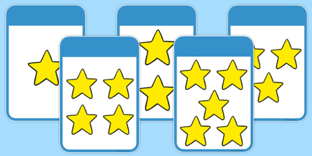 Count the Stars Activity Cards (1-5) - Maths, Math, star, stars, counting, Counting on, Counting back, counting card, counting activity, one to one counting, flashcard, matching cards