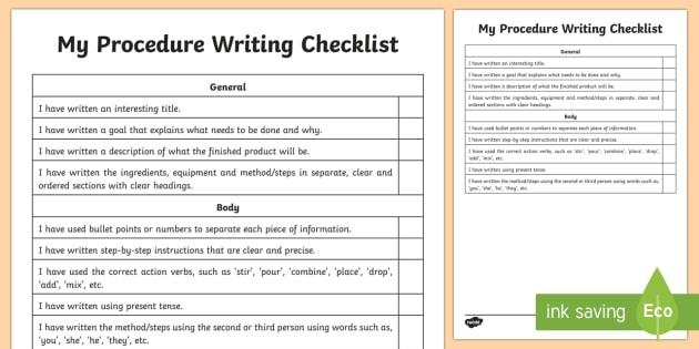Procedure Writing Student Checklist Literacy Procedure - Procedural writing template