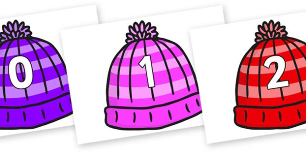 Numbers 0-31 on Woolly Hats - 0-31, foundation stage numeracy, Number recognition, Number flashcards, counting, number frieze, Display numbers, number posters