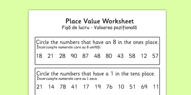 Place Value Worksheet 2 Digits Romanian Translation - romanian, place value, worksheet, 2 digits