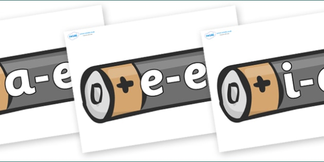 Modifying E Letters on Battery - Modifying E, letters, modify, Phase 5, Phase five, alternative spellings for phonemes, DfES letters and Sounds
