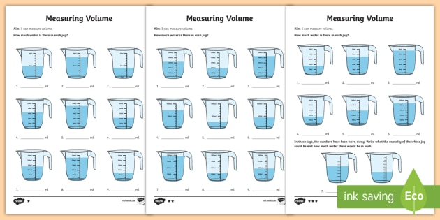 Year 3 Measure Volume Differentiated Worksheets - KS2 ...