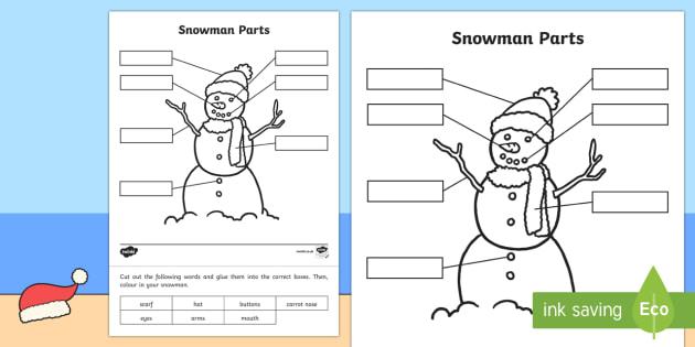 Christmas Snowman Parts Activity Sheet-Australia