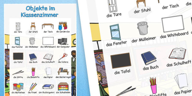 Objekte im Klassenzimmer Large Display Poster German - german, classroom objects, large, display poster, display, poster
