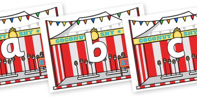 Phoneme Set on Fairground Coconut Stands - Phoneme set, phonemes, phoneme, Letters and Sounds, DfES, display, Phase 1, Phase 2, Phase 3, Phase 5, Foundation, Literacy