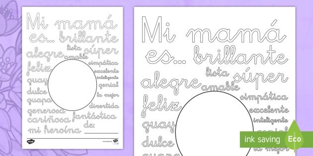 Hoja de colorear: Palabras de descripción - Día de la Madre