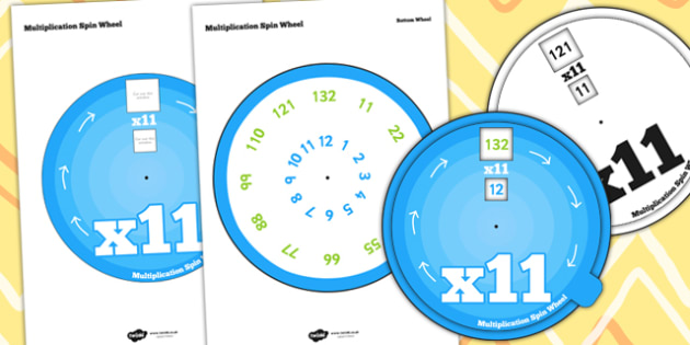 Multiplication Spin Wheel 11 - times tables, multiply, maths