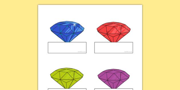 Little Gem Editable Self-Registration - gem, precious stones, ks1, ks2, class, display, colourful, classname