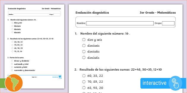 Examen Diagnóstico 3er Grado Matemáticas En Pdf