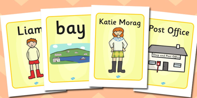 Display Posters to Support Teaching on Katie Morag - Katie Morag, story resources, poster, display, sign, banner, Mairi Hedderwick, story, fine motor skills, scotland, scottish, book, resources, story book