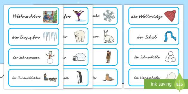 Winter Wort-und Bildkarten - Jahreszeiten, kalt, Weihnachten