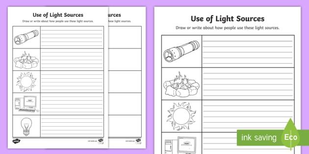 use of light sources worksheet activity sheet worksheet. Black Bedroom Furniture Sets. Home Design Ideas