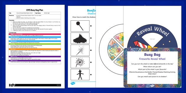 EYFS Firework Reveal Wheel Busy Bag Plan and Resource Pack