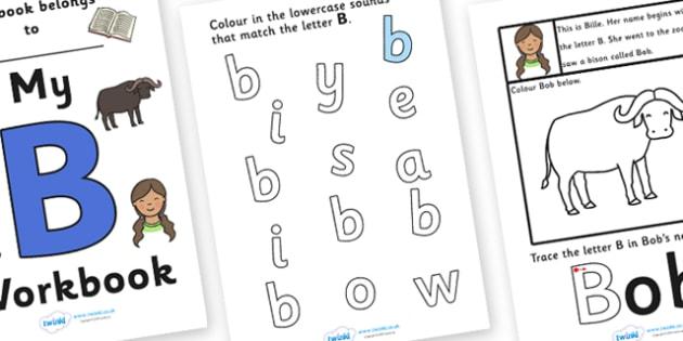 My Workbook B uppercase - workbook, B sound, uppercase, letters, alphabet, activity, handwriting, writing
