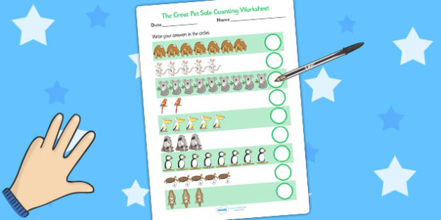 Counting Sheet to Support Teaching on The Great Pet Sale - count, counting, numeracy