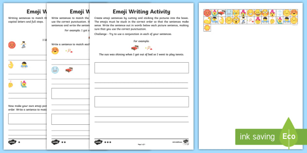 Emoji Sentence Writing Differentiated Worksheet / Activity