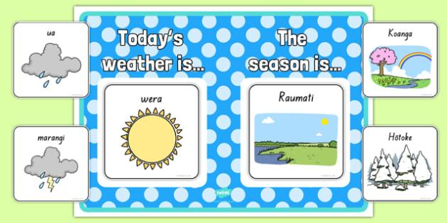 Weather and Season Display Poster - te reo māori, seasons, weather