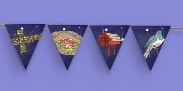Matariki Themed Bunting - nz, new zealand, matariki, bunting, display bunting, display